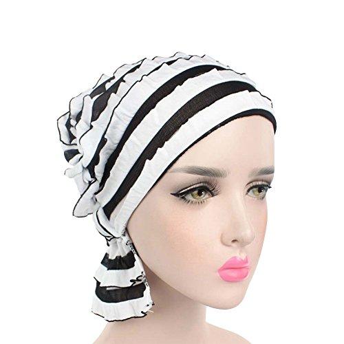 ZYCC Chemo Krebs Kopf Schal Hut Mütze Ethnische Stoff Druck Turban Kopfbedeckung Frauen Rüsche Beanie Schal Muslim Kopftuch (Schwarz und Weiß) (Kopf-hut)