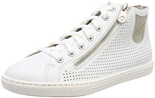 Rieker Damen L0925 Hohe Sneaker, (Weiss/LightGold), 37 EU