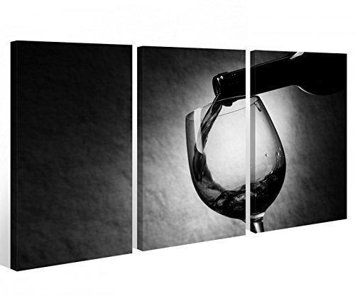 Leinwand 3 tlg. schwarz weiß Wein Flasche Küche Trinken Glas Bild Wandbild 9A354 Holz - fertig gerahmt - direkt von Hersteller, 3 tlg BxH:90x60cm (3Stk 30x 60cm)