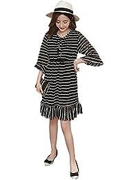 9ba5bd5fcccc BOZEVON Donna Abito per Allattamento - Vestito Premaman Pizzo Striscia  Casual Manica Lunga Moda Elegante Estivo