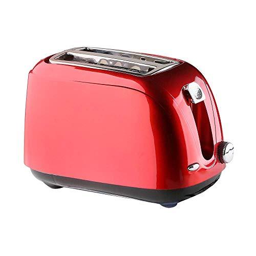 QIN.J.FANG-Cocina Tostadora 2 rebanada roja, con la bandeja de la escoria del tirar-tipo ysoluciones cubierta