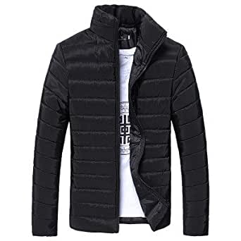 aliveGOT Mens Warm Slim Fit Stand Collar Winter Outwear Jacket Solid Thick Coat