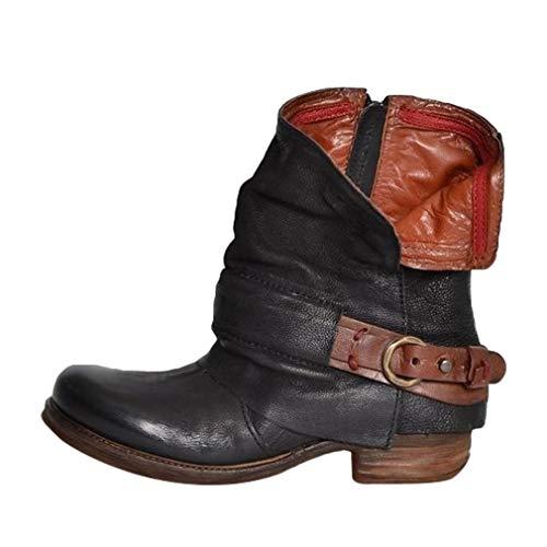 Preisvergleich Produktbild Leder Stiefe für Damen Retro Blockabsatz Stiefeletten Frauen Bequeme Schuhe mit Rutschfester Sohle Mode Herbst Winter Casual Boots Schuhe Stiefel
