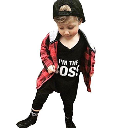 Kinderbekleidung,Honestyi neugeborenes Baby Junge Mädchen Buchstaben Overall Outfits Kleidung Baby Kleidung Baby Langarm gestrickte Kleidung Crawling Baumwolle Lange Ärmel (Schwarz, - Crawling Puppe Baby