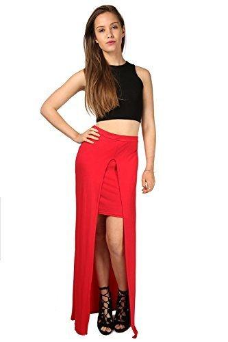 Damen Damen Promi Inspiriert Vorne Ausgeschnitten Schlitz Split Stift 2 in 1 Langleine Midaxi Rock UK Größen 8-22 Rot