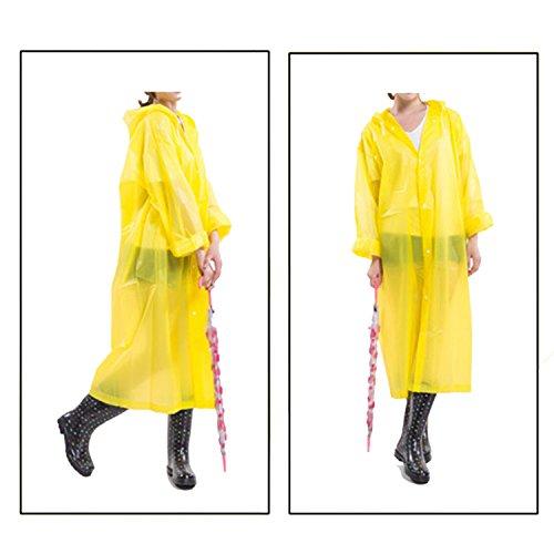 Sasairy Damen Regenmantel Tragbar Regenponcho Mit Langen Ärmeln für Fahrrad/Motorrad/Reisen/Camping/Wandern Gelb(Stil 1)