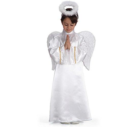 Carnival Toys 27810 - Engel Kostüm für Kinder, Größe 6-7 Jahre, weiß/gold (Gold Engel Kostüm)