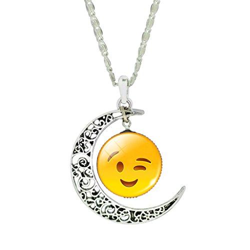 Mujeres Interesantes Ojos Parpadean Sonrisa Cara Cristal Joya Collar Retro Sol Y Luna Colgante Collar