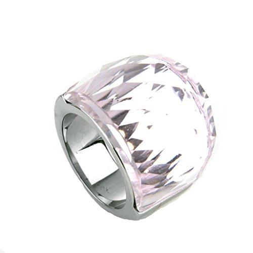 Bishiling Modeschumck Edelstahlring für SieKlarer Kristall Zirkonia Stein Rosa Damenring Silber Partnerring Größe 60 (Der Kostüme Irland Ringe Herr)