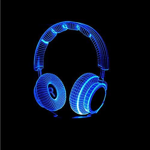 Dwthh Junge Schlafzimmer Dekor Beste Geschenk 3D Bunte Dj Kopfhörer Nachtlicht Musik Monitor Headset Hifi Musik Kopfhörer Led Tabelle Leuchtend -