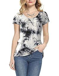 AMORETU Womens Ladies Round Neck Casual T-Shirt Tops Blouse
