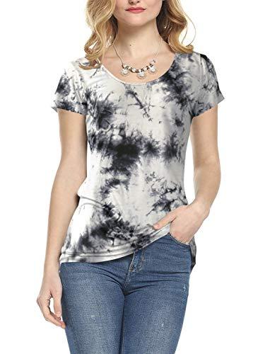 AMORETU Damen Kurzaem Rundhals Batik Muster T-Shirt Sommer Bluse Oberteile, 2-weiß, XL/DE 44-46 -