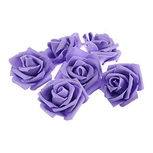 PIXNOR 50 Stück künstlichen Schaum Rosen Blumen für Haus Hochzeit Decoration(lila) (Künstliche Rose Bulk)