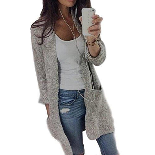 GiGiSun Womens Lady Unsure Strickhülse Pullover Mantel Strickjacke Jacke (L)