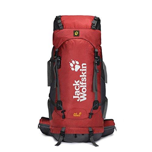 Outdoor-Klettern Tasche mit großer Kapazität wasserdichtem Nylon-Rucksack im Freien Wanderrucksack rot 60L