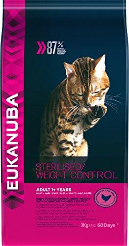 Eukanuba - Croquettes Stérilisé ou en Surpoids - pour Chat - Croquettes Recommandées par les Vétérinaires - Alimentation 100% Complète et Equilibrée - Riche en Poulet - Sac Refermable de 3kg