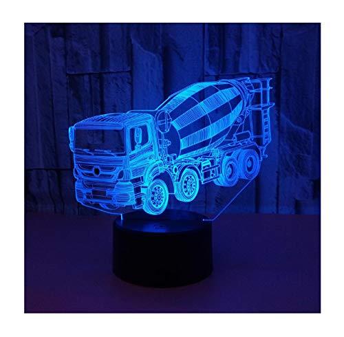 WFTD 3D-Nachtlichter, 7 Farben ändern Mixer Truck Muster Illusion Lampe mit Fernbedienung USB-betriebene dekorative Nachttischlampe