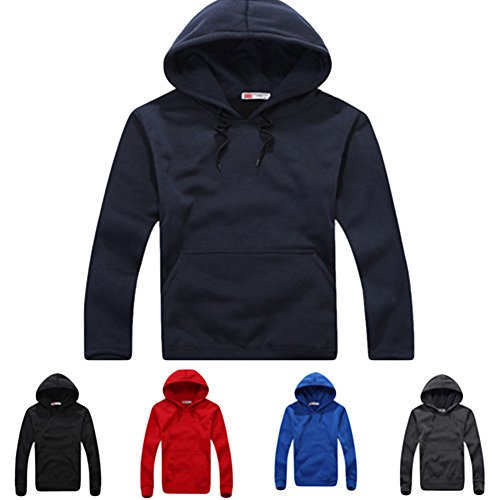 Meijunter Uomo SolidColor Sottile Hoody Jacket Hooded Vello Maglione Felpe Black