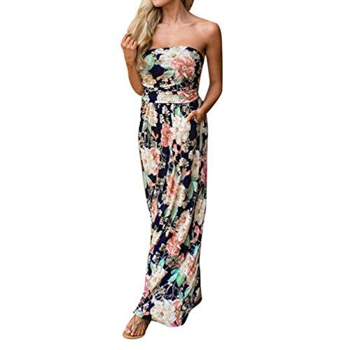 Kleider Damen Dasongff Sommerkleider Damen Elegante Kleider Floral Print Kurzarm Lange Cocktailkleid Schulterfrei Lang Abendkleid Partykleid Maxikleid (M, Multicolor-C) (Color Floral Multi Print)