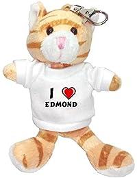 Gato marrón de peluche (llavero) con Amo Edmond en la camiseta (nombre de pila/apellido/apodo)