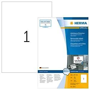 Herma 10315 Etiketten ablösbar, wieder haftend (DIN A4 210 x 297 mm) weiß, 100 Aufkleber, 100 Blatt A4 Papier matt, bedruckbar, selbstklebend, Movables