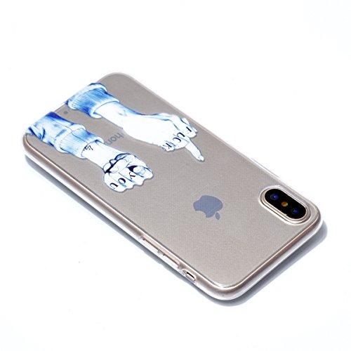 Cover per iPhone X Custodia per iPhone 10, Mosoris Ultra Sottile Morbido TPU Silicone Posteriore Corpeture Flessibile Trasparente Cristallo Gomma Gel Case Antiurto Protettiva Caso Anti Graffio Protezi FUCK