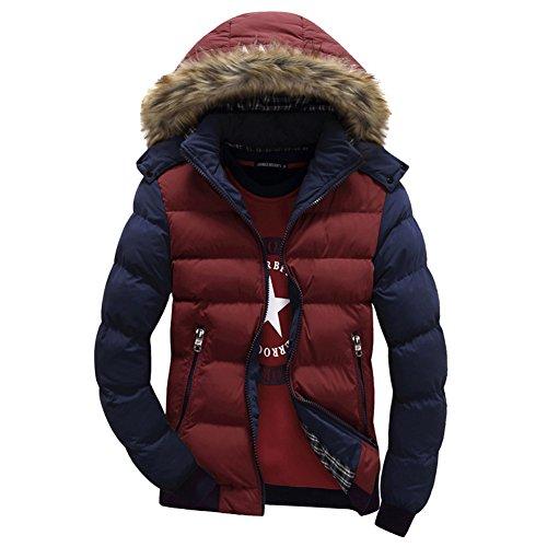 Highdas hiver chaud Hommes Manteau de duvet de coton ¨¦pais Parkas Manteaux de fourrure amovible Cap Parka ¨¤ capuche Bleu/Rouge