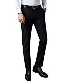 d60acb9d Mens Formal Business Suit Trousers Straight Leg Office Pants Stretch Slim  Fit Work Home Smart Dress