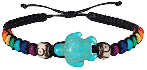 Armband Mit Schildkröte aus Stein als Schmuck Für Männer, Jungs, Mädchen In Style Hilltribe Strand Hippie Party, Größenverstellbar (Turtle)