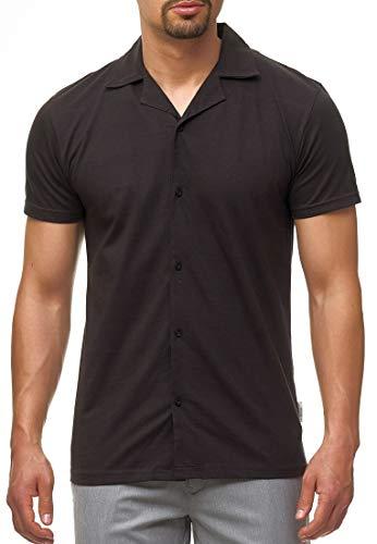 Indicode Herren Biggerstaff Poloshirt mit Knopfleiste Bowling T-Shirt Raven L -