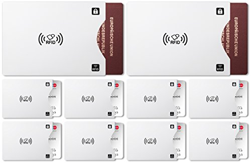 RFID Blocking Sleeves Anti Theft Protection Credit Card ID Passport Pack (8x Credit Card Sleeves 2xPassport Sleeves)
