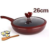 BMKY Padelle Pan Pan Non - Stick Oil - Free Smoke Padella senza fumo Pancake Pan frittata Wok Cooker generale Pot ( colore : Rosso , dimensioni : 26 centimetri )