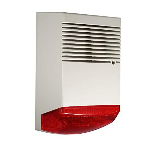 Festnight Security Alarm for House, 120 dB Wired Blitz Sirene Sound Light Alarm im Freien Wasserdicht für Intrusion Safety & Feueralarm (Big House-lautsprecher)