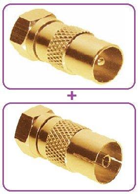 (1x) SAT Antennen Adapter Koax Stecker auf F-Stecker, vergoldet + (1 x) SAT Antennen Adapter Koax Buchse auf F-Stecker, vergoldet