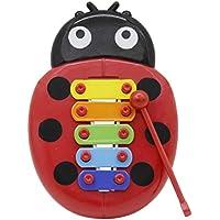 SUPVOX Juguete de instrumento musical de percusión de xilófono para niños con 5 teclas de metal Nota Mariquita roja en forma de