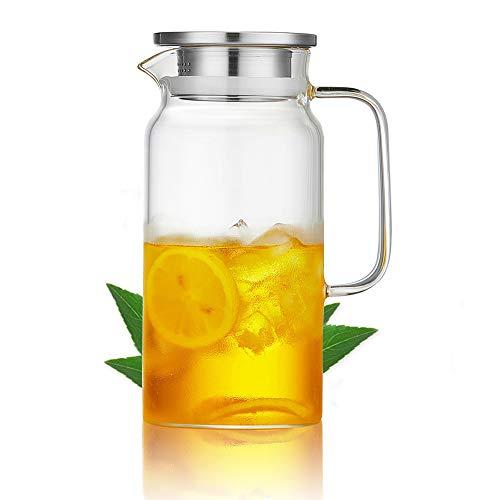HwaGui Karaffe Borosilikatglas Glaskaraffe mit Edelstahl Deckel für Heißes/Kaltes Wasser und Saftgetränk, 1L/35oz