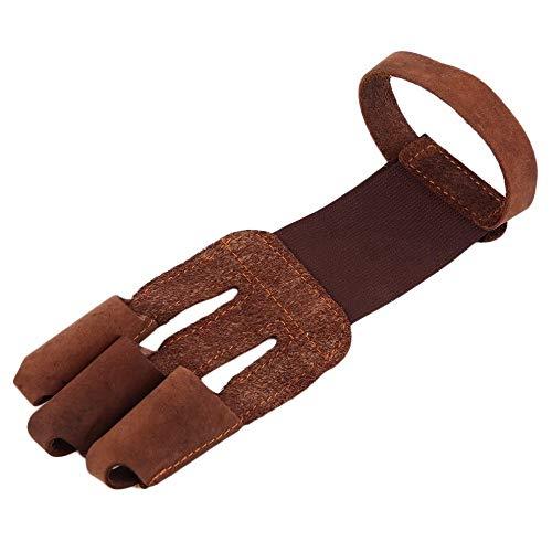1 Stück Braun Farbe Schützen Handschuh 3-Finger Stil Für Bogenschießen Pu Handschuhe Protector Fingerschutz Für Outdoor Jagd
