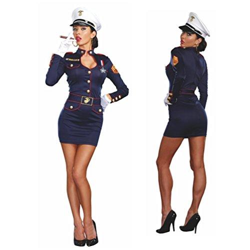 Kostüm Marine Offizierin Kleid Mütze Fasching Admiral Matrosin Seefahrerin ()