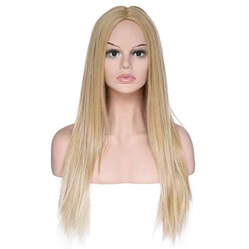 Perruque Femme Blonde,Perruque Lace Frontal Pas Cher,Perruque de Mode Pour Les Cheveux Synthétiques D'or de Longues Perruques de Vague Perruque Frisée (Or)