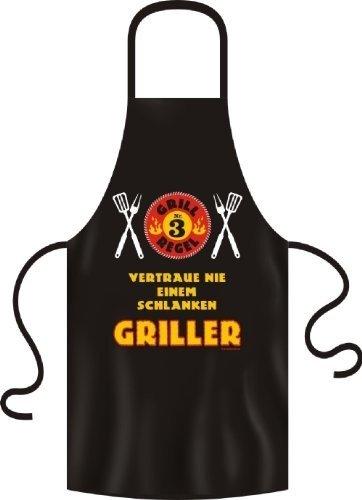 Grillschürze Einheitsgrösse 100% Baumwolle - Grillregel Nr. 3 - Vertraue nie einem schlanken Griller
