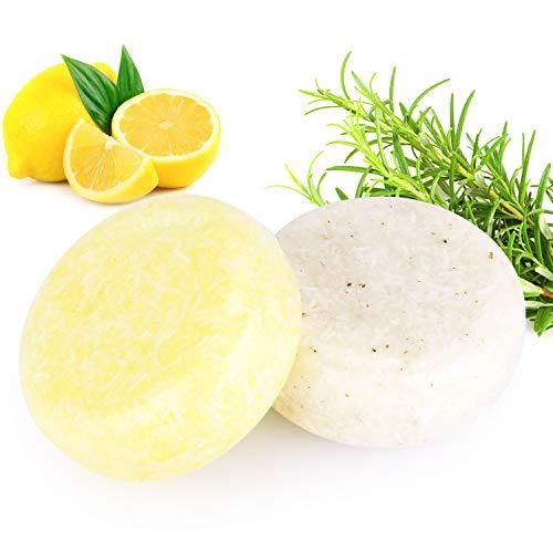 2 STÜCKE Hair Shampoo Bar, Phogary Haarseife (Rosmarin + Zitrone) Verschiedene Duftstoffe pflanzliche Essenz Shampoo für trockenes und geschädigtes Haar 3.88 oz -