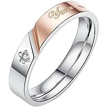 """Diseño de pareja de la venda de acero inoxidable Aivtalk de compromiso o amistad anillas para barra de """"sonrisa de su este producto hace posible que de oso panadero con gorro diseño con texto en inglés"""""""