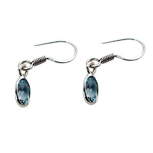 Manmade orecchino vero topazio blu per donne moda gioielli in argento di forma ovale con pietra portafortuna regalo