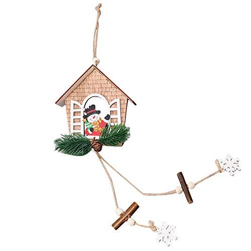 Hirolan Hanging Ornament Hausförmige Weihnachtsbaum Hängende Kleine Hölzerne Hängende Verzierung des Anhängers Holz Anhänger (B, Größe: 48 x 11,5 cm) (Halloween Tree Ornaments Mini)