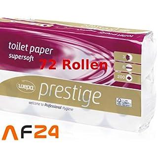 Wepa Prestige Zellstoff Toilettenpapier, 3lg 100 % Cellulose, 250 Blatt, 72 Rollen