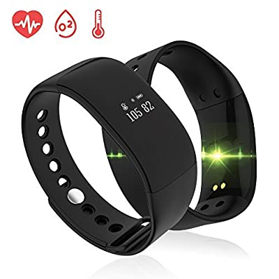 XINGDOZ V66 Fitness Tracker,Bluetooth Wireless Smart Bracelet with Step Tracker Pedometers Heart Rate Blood Sleep Monitoring Wristband for IOS Android Smart Phones by Made in China
