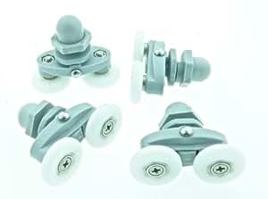 4 x Twin Shower Door Rollers/Runners 20mm Wheels Diameter L006