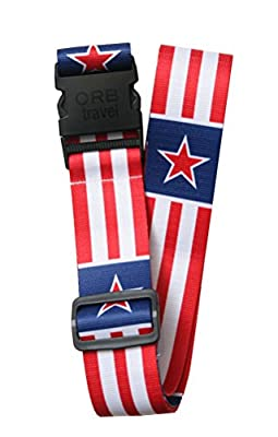 "Orb Travel Premium Designer Luggage Strap Suitcase Strap Luggage Strap/Packing Tape 2 m x 5 cm White/Red/Blue Stars & Stripes 2"" Wide by 70"" long"