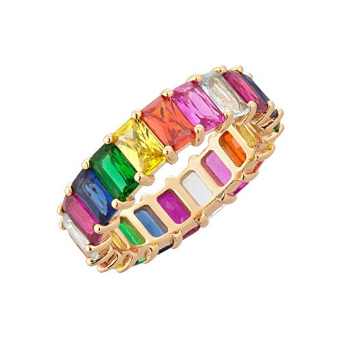 Daawqee Damen-Ring, Gold Filled Fashion Jewelry Rainbow Square Baguette Cz Engagement Ring for Women Colorful Cubic Zirconia Cz Eternity Band Ring Gold-Color 6 (Baguette-kreuz-anhänger)