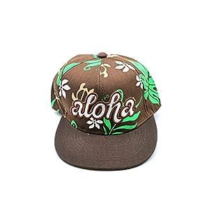 Impresin-floral-de-Hawaii-con-el-casquillo-slido-del-sombrero-de-EmbroideRojo-de-Aloha-en-Verde